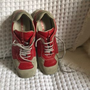 Prada Red/grey leather sneakers size 36 1/2